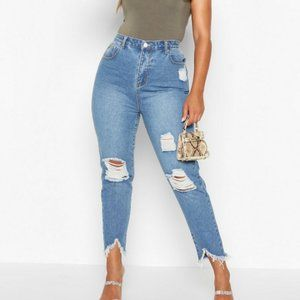 Boohoo Plus Ripped Distressed High Waist Mom Jeans